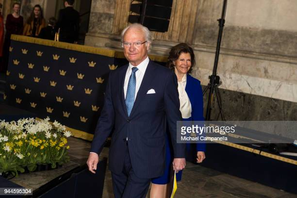 King Carl XVI Gustaf of Sweden and Queen Silvia of Sweden attend the Global Child Forum 2018 at the Stockholm Palace on April 11 2018 in Stockholm...
