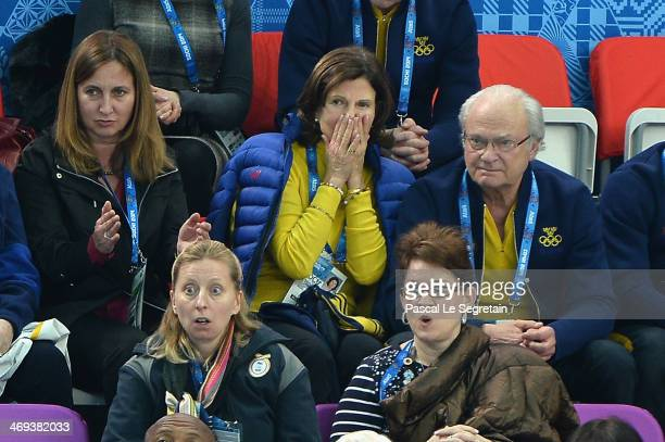 King Carl XVI Gustaf of Sweden and Queen Silvia of Sweden react as Alexander Majorov of Sweden performs during the Figure Skating Men's Free Skating...