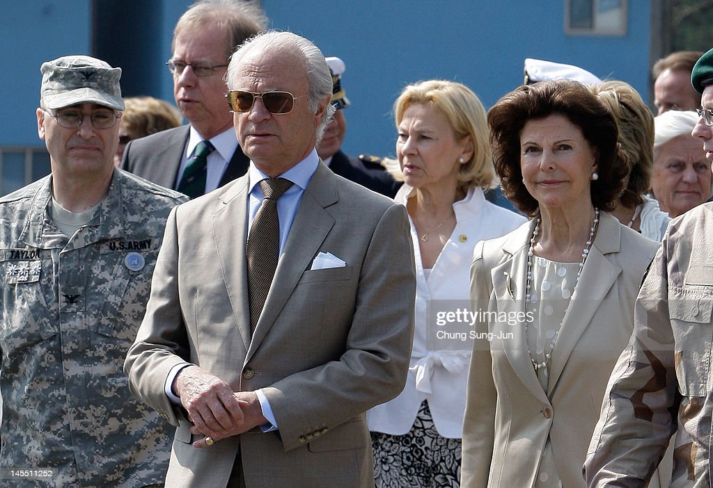 King Carl XVI Gustaf of Sweden and Queen Silvia of Sweden visit at the border village of panmunjom between South and North Korea in the demilitarized zone (DMZ) on June 1, 2012, South Korea. The Swedish royals are on the four-day tour to South Korea.