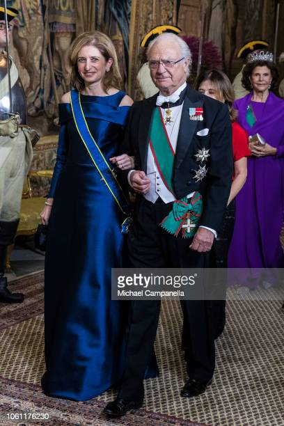 King Carl XVI Gustaf of Sweden arrives with Laura Mattarella at a gala dinner hosted by the Swedish royal family in connection with the state visit...