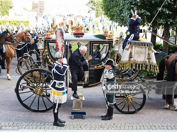 King Carl XVI Gustaf of Sweden attends a ceremony at Riksdag in connection with the opening session of the Swedish parliament on September 13, 2016...