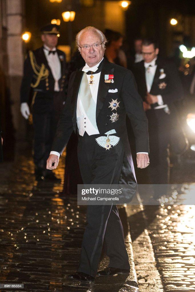 King Carl XVI Gustaf of Sweden attends a formal gathering at the Swedish Academy on December 20, 2017 in Stockholm, Sweden.