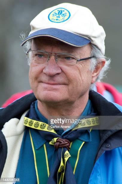 King Carl XVI Gustaf of Sweden attends the 63th World Scout Foundation meeting on April 21 2012 in El Escorial near of Madrid Spain