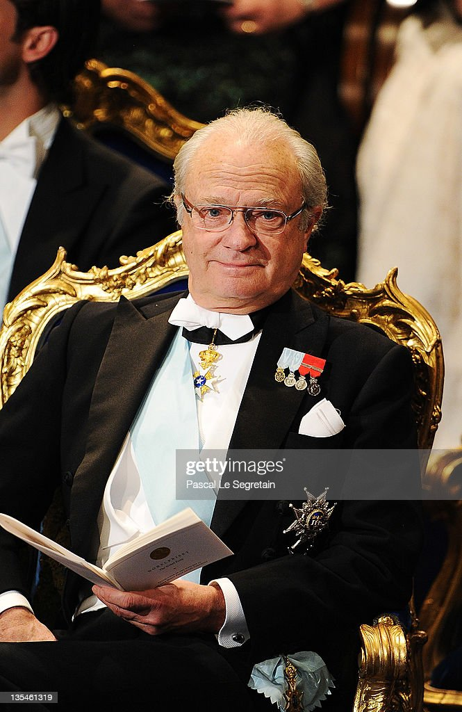 King Carl XVI Gustaf of Sweden attends the Nobel Prize Award Ceremony 2011 at Stockholm Concert Hall on December 10, 2011 in Stockholm, Sweden.