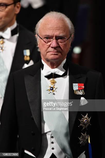 King Carl XVI Gustaf of Sweden attends the Nobel Prize Awards Ceremony at Concert Hall on December 10 2018 in Stockholm Sweden