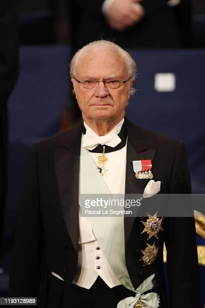 King Carl XVI Gustaf of Sweden attends the Nobel Prize Awards Ceremony at Concert Hall on December 10 2019 in Stockholm Sweden