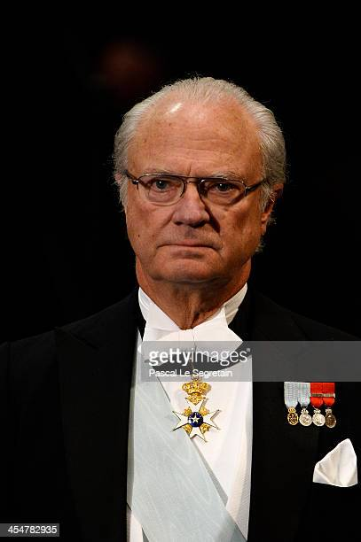 King Carl XVI Gustaf of Sweden attends the Nobel Prize Awards Ceremony at Concert Hall on December 10 2013 in Stockholm Sweden