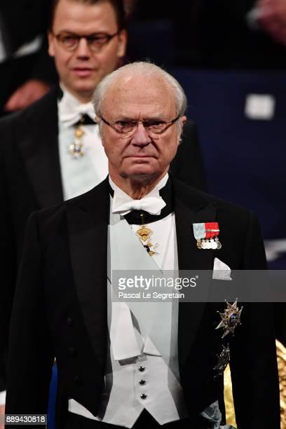 King Carl XVI Gustaf of Sweden attends the Nobel Prize Awards Ceremony at Concert Hall on December 10, 2017 in Stockholm, Sweden.