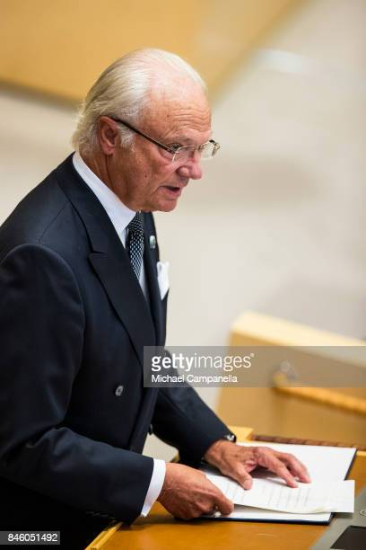 King Carl XVI Gustaf of Sweden attends the opening of the Parliamentary session on September 12, 2017 in Stockholm, Sweden.