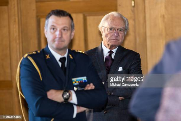 King Carl XVI Gustaf of Sweden attends the WWFs annual meeting at Ulriksdals Castle on October 22, 2021 in Solna, Sweden.