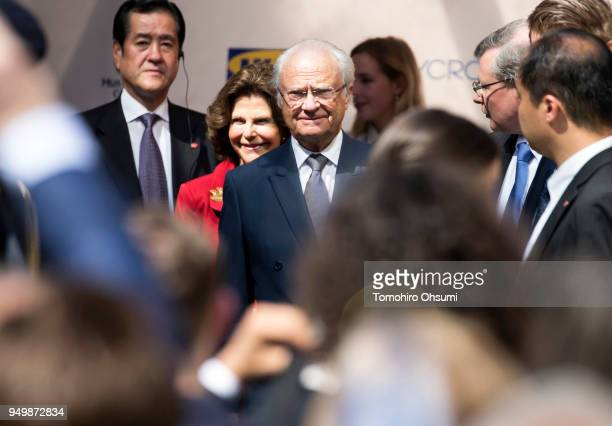 King Carl XVI Gustaf of Sweden center right and Queen Silvia of Sweden center left arrive for an event at the Embassy of Sweden on April 22 2018 in...