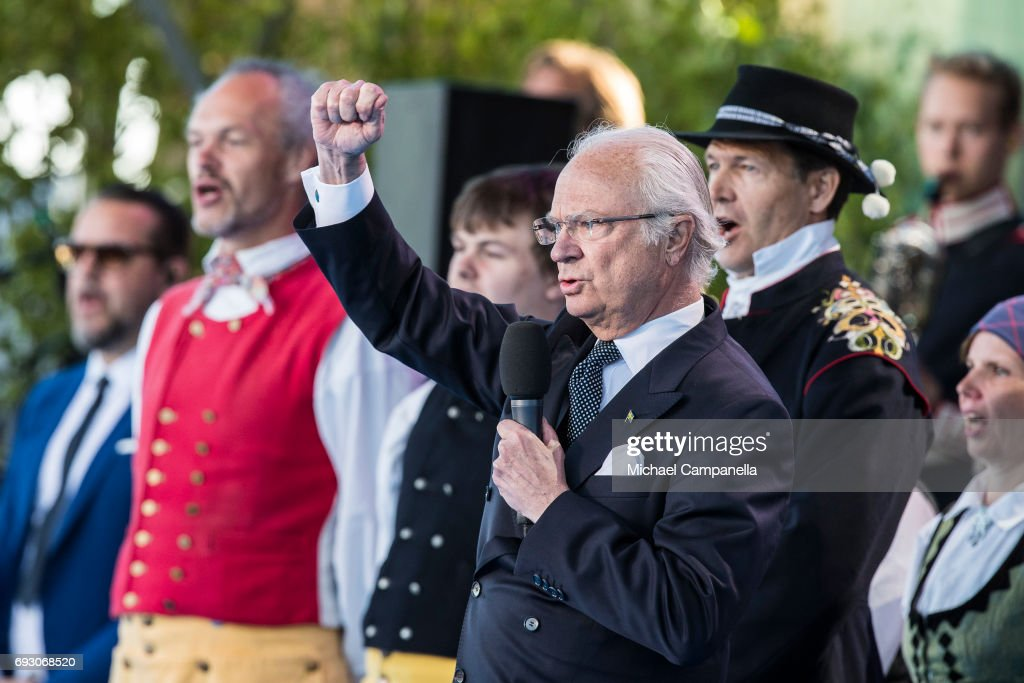 King Carl XVI Gustaf of Sweden during the national day celebrations at Skansen on June 6, 2017 in Stockholm, Sweden.