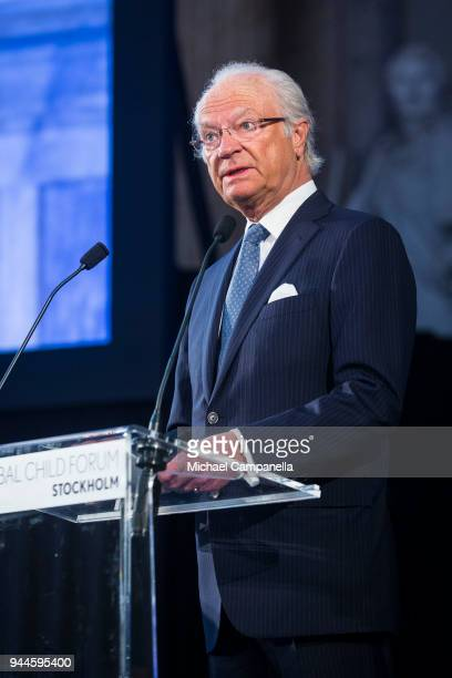 King Carl XVI Gustaf of Sweden gives the opening speech at the Global Child Forum 2018 at the Stockholm Palace on April 11 2018 in Stockholm Sweden