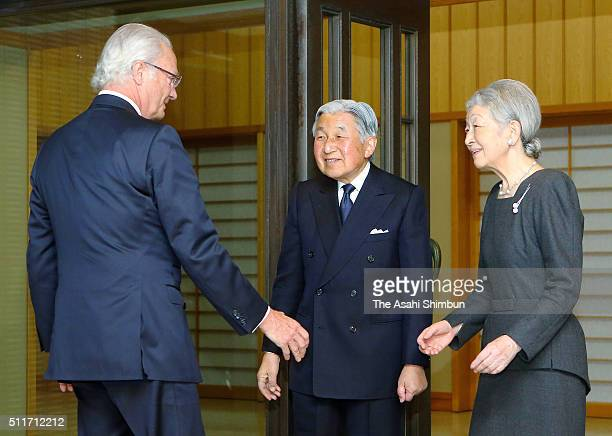 King Carl XVI Gustaf of Sweden greets Emepror Akihito and Empress Michiko prior to their dinner at the Imperial Palace on February 19 2016 in Tokyo...