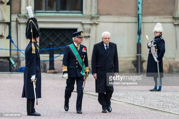 King Carl XVI Gustaf of Sweden greets Italian President Sergio Mattarella at the Stockholm Royal Palace on November 13 2018 in Stockholm Sweden The...
