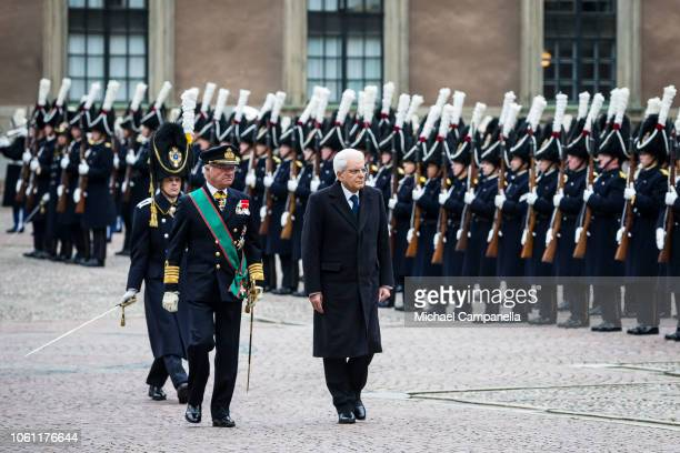 King Carl XVI Gustaf of Sweden greets Italian president Sergio Mattarella at the Stockholm Royal Palace on November 13, 2018 in Stockholm, Sweden....
