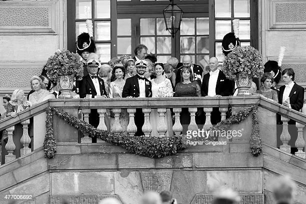 King Carl XVI Gustaf of Sweden, his wife Queen Silvia of Sweden, Prince Carl Philip of Sweden and Princess Sofia of Sweden, and her parents Marie...