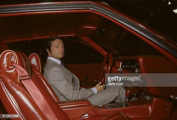 King Carl XVI Gustaf of Sweden inside a Ford Car on December 20, 1976 in Detroit, Michigan.