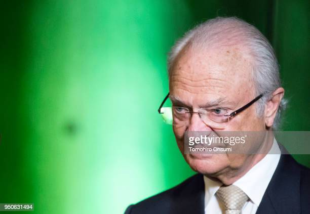 King Carl XVI Gustaf of Sweden is seen as he is interviewed by the media on April 24, 2018 in Tokyo, Japan. King Carl Gustav and Queen Silvia of...