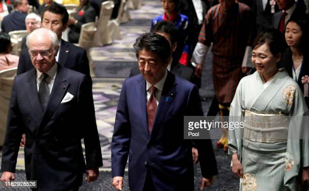 King Carl XVI Gustaf of Sweden Japan's Prime Minister Shinzo Abe and his wife Akie Abe arrive the banquet hosted by Prime Minister Shinzo Abe and...