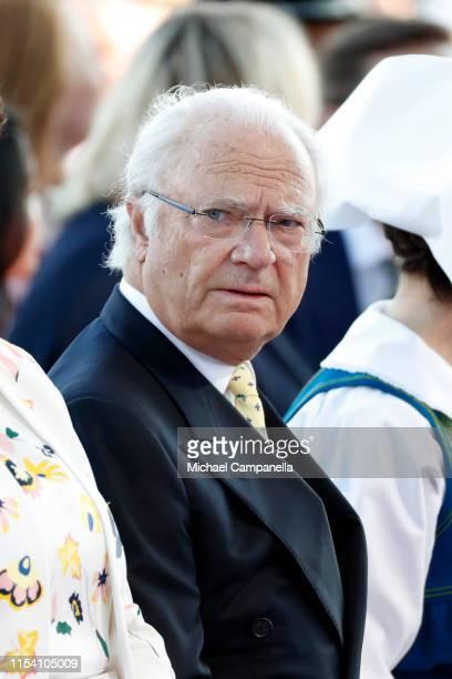 King Carl XVI Gustaf of Sweden participates in a ceremony celebrating Sweden's national day at Skansen on June 06 2019 in Stockholm Sweden