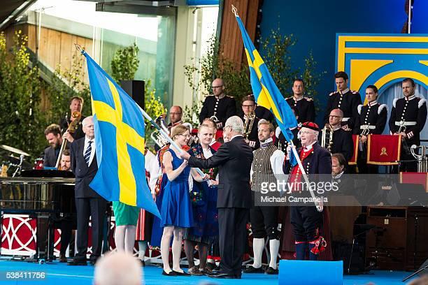 King Carl XVI Gustaf of Sweden participates in a ceremony celebrating Sweden's national day at Skansen on June 6 2015 in Stockholm Sweden