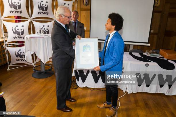 King Carl XVI Gustaf of Sweden presents fifteen year old Luca Berardi wins the Young Enviromental Hero of the year prize during the WWF's autumn...