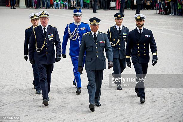 King Carl XVI Gustaf of Sweden Prince Carl Philip attend the birthday cermony of King Carl XVI Gustaf of Sweden at the Royal Palace on April 30 2014...