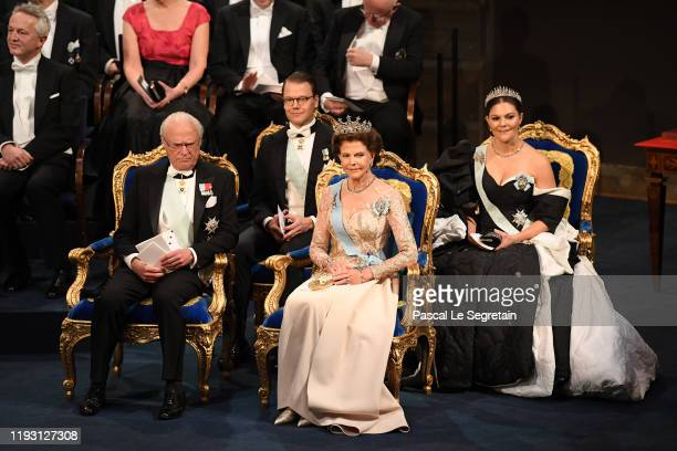 King Carl XVI Gustaf of Sweden Prince Daniel of Sweden Queen Silvia of Sweden and Crown Princess Victoria of Sweden attend the Nobel Prize Awards...
