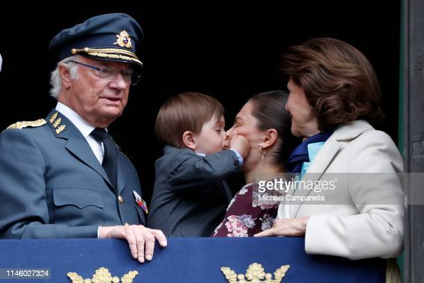 King Carl XVI Gustaf of Sweden Prince Oscar Duke of Skane Crown Princess Victoria of Sweden and Queen Silvia of Sweden attend a celebration of King...
