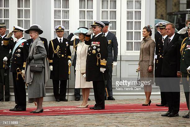 King Carl XVI Gustaf of Sweden Queen Margrethe II of Denmark Queen Silvia of Sweden Prince Henrik of Denmark and Princess Victoria of Sweden arrive...