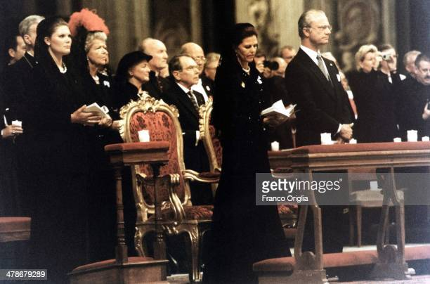 King Carl XVI Gustaf of Sweden Queen Silvia of Sweden and Crown Princess Victoria of Sweden attend a mass at St Peter's Basilica on an official visit...