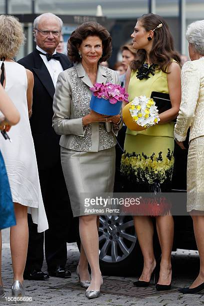 King Carl XVI Gustaf of Sweden, Queen Silvia of Sweden and Princess Victoria of Sweden arrive for the Polar Music Prize at Konserthuset on August 28,...
