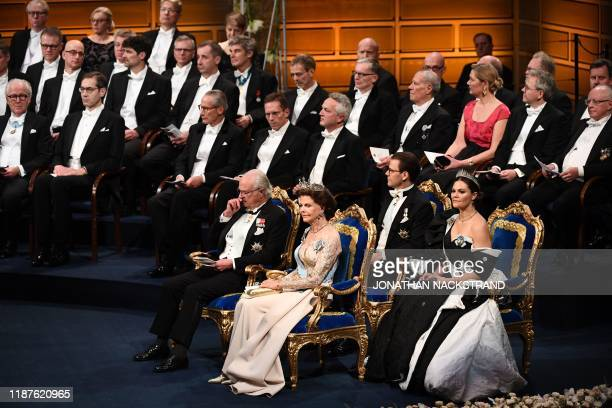 King Carl XVI Gustaf of Sweden Queen Silvia of Sweden Crown Princess Victoria of Sweden and Crown Prince Daniel of Sweden sit at the start of the...