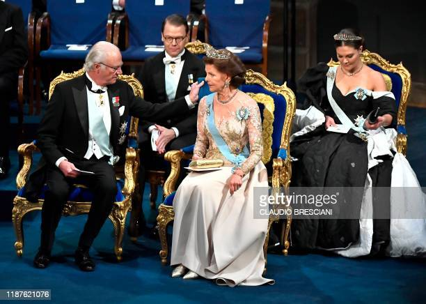 King Carl XVI Gustaf of Sweden Queen Silvia of Sweden Crown Princess Victoria of Sweden and Crown Prince Daniel of Sweden take their seats at the...