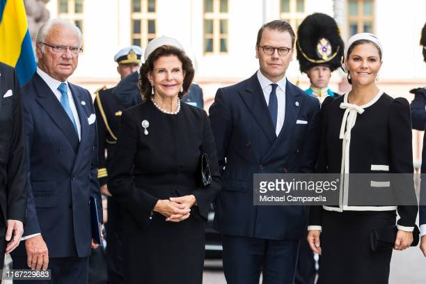 King Carl XVI Gustaf of Sweden, Queen Silvia of Sweden, Prince Daniel of Sweden, and Crown Princess Victoria of Sweden pose for a picture upon...
