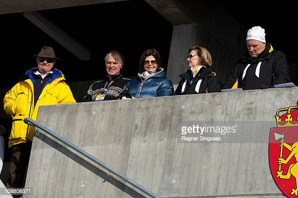 King Carl XVI Gustaf of Sweden Queen Silvia of Sweden Queen Sonja of Norway and King Harald V of Norway attend the Men's 50km Free Mass Start in the...