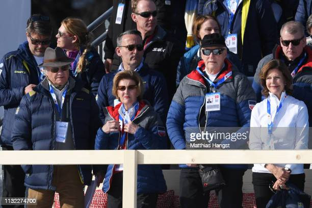 King Carl XVI Gustaf of Sweden Queen Sonja of Norway King Harald V of Norway and Queen Silvia of Sweden attend the CrossCountry Women's 10k race of...