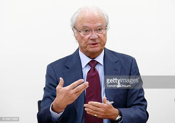 King Carl XVI Gustaf of Sweden speaks during a press conference at the National Museum of Emerging Science and Innovation on February 18, 2016 in...