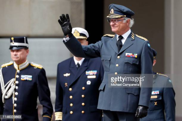 King Carl XVI Gustaf of Sweden waves at a celebration of his 73rd birthday anniversary at the Royal Palace on April 30 2019 in Stockholm Sweden