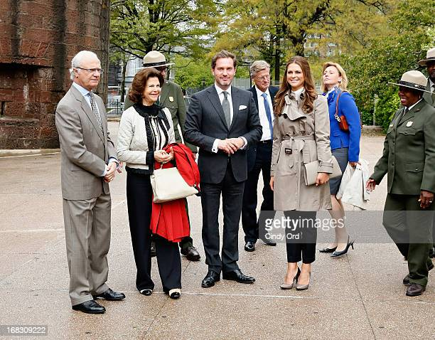 King Carl XVI Gustaf Queen Silvia and Princess Madeleine of Sweden joined by Princess Madeleine's fiance Chris O'Neill are seen visiting 'The Castle...