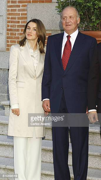 King Carlos and Princess Letizia of Spain prepare to receive elected President of Panama Martin Torrijos Espino and his wife, on July 14, 2004 at...