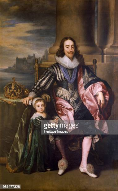 King Charles I and Prince Charles' 17th century Painting in Marble Hill House RichmonduponThames London Artist Unknown