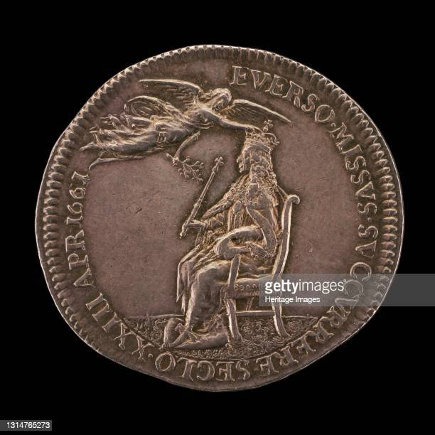 King Charles II Enthroned, being Crowned by Peace [reverse], 1661. Artist Thomas Simon.