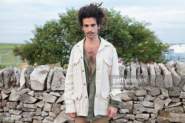 King Charles poses backstage during day one of the Y Not Festival which takes place in the Peak District on August 3, 2012 in Matlock, United Kingdom.