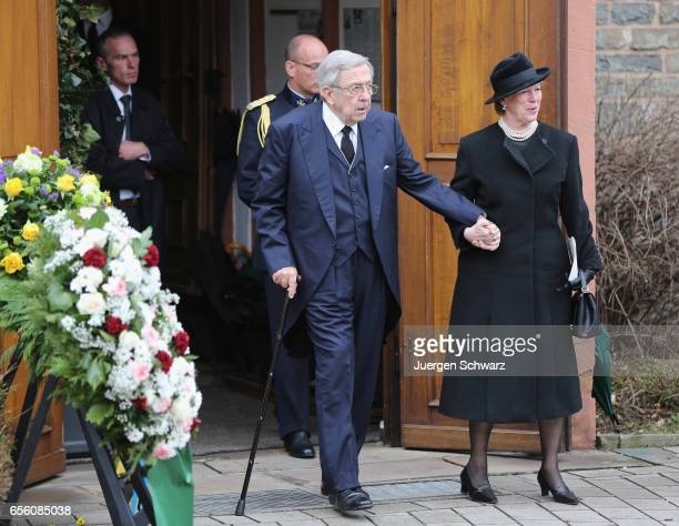 King Constantin of Greece and Queen AnneMarie of Greece leave the funeral service for the deceased Prince Richard of SaynWittgensteinBerleburg at the...