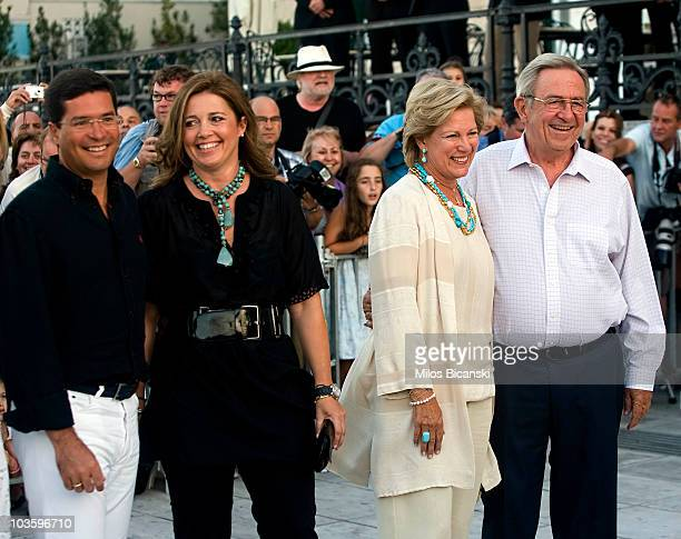 King Constantine and Queen Anna Maria of Greece attend a pre-wedding reception at the Poseidon Hotel on August 24, 2010 in Spetses, Greece.The small...