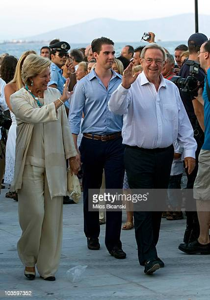King Constantine and Queen Anna Maria of Greece attend a prewedding reception at the Poseidon Hotel on August 24 2010 in Spetses GreeceThe small...