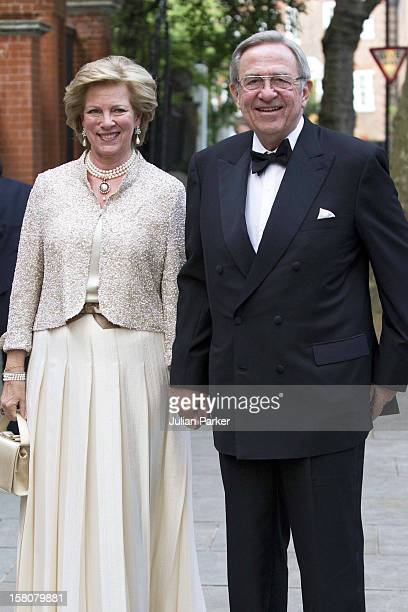 King Constantine And Queen Anne Marie Of Greece Arrive At The PartyCelebrating The 70Th Birthday Of Hm King Constantine At The Home Of Crown Prince...