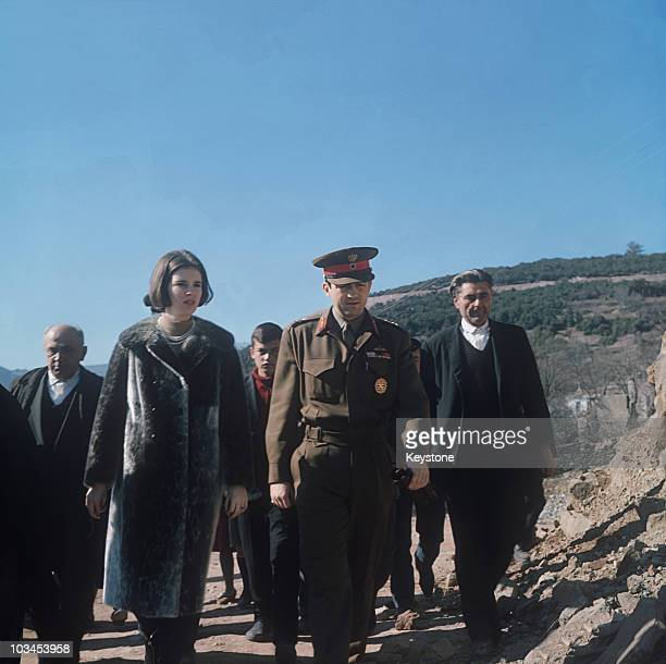 King Constantine and Queen AnneMarie of Greece visit the scene of an earthquake in central Greece in 1966